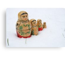 Russian dolls in snow Canvas Print