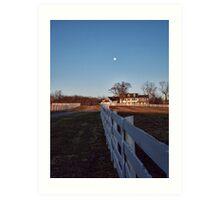 Farm House And The Moon Art Print