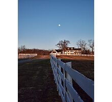 Farm House And The Moon Photographic Print