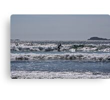 Lone surfer in the blue Canvas Print