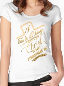 Philippians 4:13 Typography Women's Fitted Scoop T-Shirt