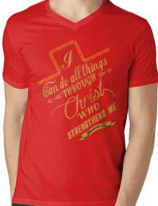 Philippians 4:13 Typography Mens V-Neck T-Shirt