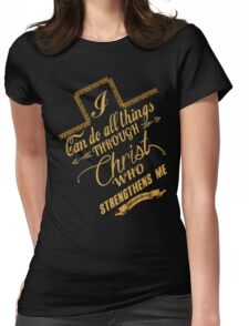 Philippians 4:13 Typography Womens Fitted T-Shirt