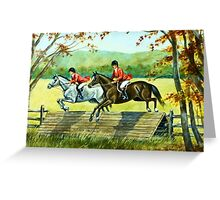 Horses Jumping Coop Greeting Card