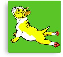 Boston Bull Terrier Puppy Yellow Canvas Print