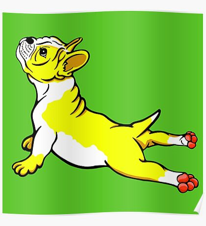Boston Bull Terrier Puppy Yellow Poster