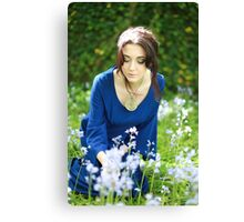 Girl in the bluebells Canvas Print