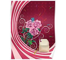Greeting card with pink roses Poster