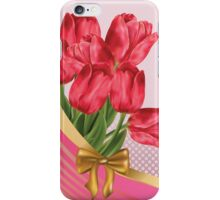 Greeting card with tulips iPhone Case/Skin