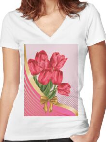 Greeting card with tulips Women's Fitted V-Neck T-Shirt