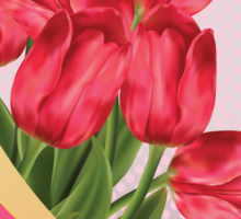 Greeting card with tulips Sticker