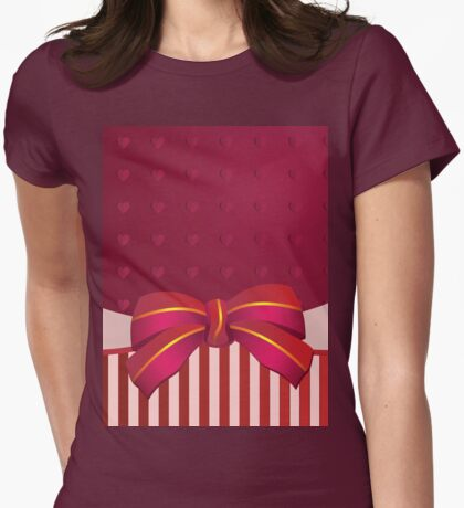 Striped background with bow Womens Fitted T-Shirt