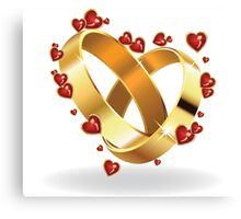 Wedding rings and hearts 2 Canvas Print