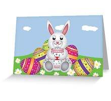 White bunny with Easter eggs 2 Greeting Card