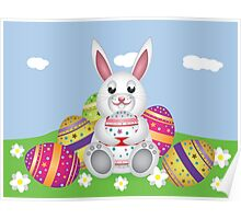 White bunny with Easter eggs 2 Poster