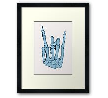 Skeleton hand | Blue Framed Print