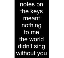 the world didn't sing without you (white text) Photographic Print