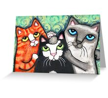 Siamese Tabby and Tuxedo Cats Posing Art Print Greeting Card