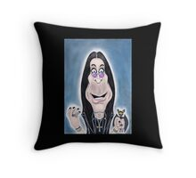 Rock Metal Singer Caricature Drawing Throw Pillow