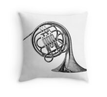 French Horn Musical Instrument. Throw Pillow