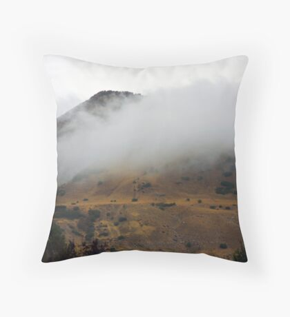 Misty Hillside Throw Pillow