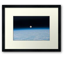 Earth And Moon From Space - Fantastic HD image of Earth taken from Orbit - International Space Station #iss Framed Print