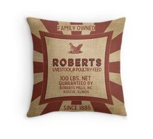 Vintage Feed And Seed Sack Chicken Burlap Throw Pillow