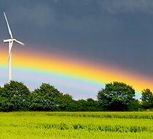 rainbow and wind turbine by imaginaryfriend