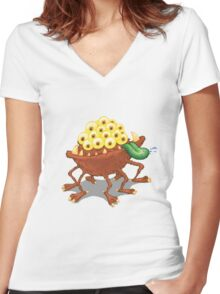 Can he swim? Women's Fitted V-Neck T-Shirt