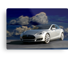 2014 Tesla Model S 'Sports Sedan' Metal Print