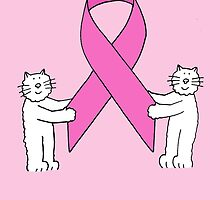 Breast Cancer pink ribbon, stay strong with cats. by KateTaylor