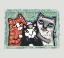 Siamese Tabby and Tuxedo Cats Posing T-Shirt  by Jamie Wogan Edwards