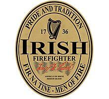 Irish Firefighter - oval label Photographic Print