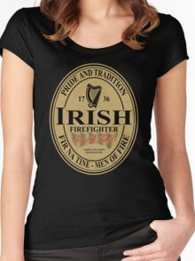 Irish Firefighter - oval label Women's Fitted Scoop T-Shirt