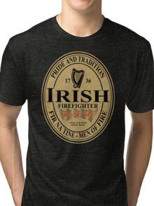 Irish Firefighter - oval label Tri-blend T-Shirt