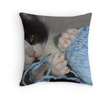 Ok - kitten with a ball of wool - predictable but cute. Throw Pillow