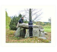 Studying Archeology at Massleberg Bohuslän Art Print