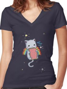 Nyom Cat Women's Fitted V-Neck T-Shirt