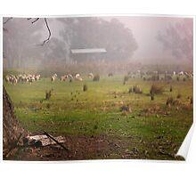 Flock in Fog Poster