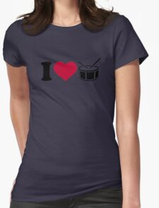 I love drums Womens Fitted T-Shirt