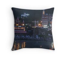 Rishikesh at Night - for Linaji Throw Pillow