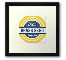 Dixie Grass Seed Vintage Feed Sack typography Framed Print
