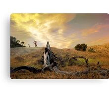 Bikers in colorful Sunset Canvas Print