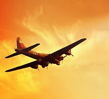 Boeing B-17 Flying Fortress Bomber in Sunset by Amaya-Of-Sea
