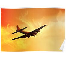 Boeing B-17 Flying Fortress Bomber in Sunset Poster