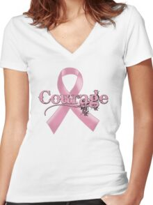 Courage Pink Ribbon Women's Fitted V-Neck T-Shirt