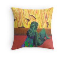 Saleerandee by the fire Throw Pillow