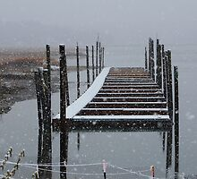 Snowy Day at the Nissequogue Boat Slips by Gilda Axelrod