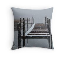 Snowy Day at the Nissequogue Boat Slips Throw Pillow