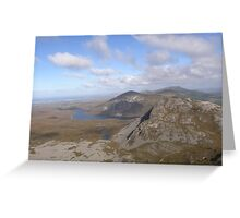 Mountain range view from Errigal Mountain Donegal Ireland Greeting Card